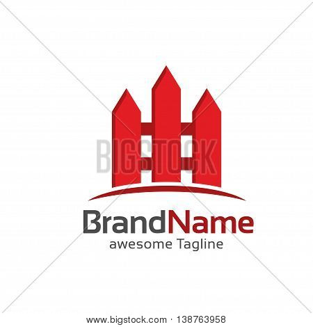 fence creative symbol concept. Home and garden decoration logo