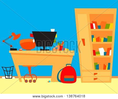 Student room with computer and books. Vector illustration