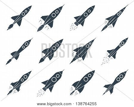 Set Of Vector Rocket Icons Isolated On White