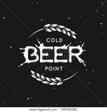 Beer point lettering poster. Pub emblem on black background. Hand crafted creative beer related composition. Design elements for chalkboard advertising. Vector vintage illustration.