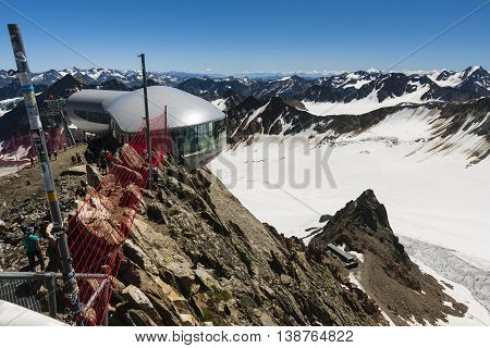 Pitztal - August 1: View from the Hinterer Brunnenkogel (3438m) in the Oetztal Alps with the Wildspitzbahn in the foreground on August 1, 2013