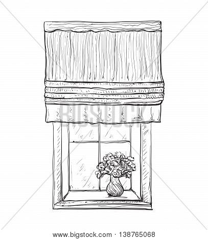 Hand drawn Windows Sketch. Curtains and flowers in the interior