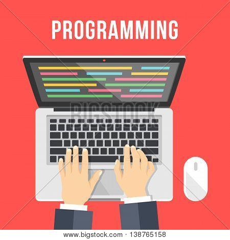 Programming concept. Man is coding. Hands, laptop with lines of code on screen and computer mouse. Top view. Flat design graphics for web banners, web sites, printed materials. Vector illustration