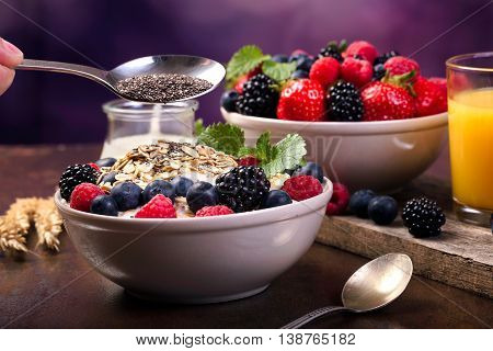 Spoon Of Chia And Some Berries