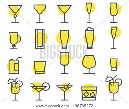 Beverage icons set. Cocktail, drinks vector outline symbols. Beer, wine, cognac emblems. Alcohol line cocktails pictogram isolate on shapes. Party elements isolated. Icons for website, print. Vector.