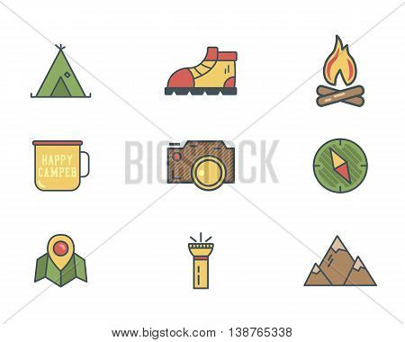Summer and winter mountain explorer camp icons in flat style. Travel, hiking, climbing pictograms. Retro color design. Best for outdoor adventure sites, tee, t shirt prints etc. Isolated vector