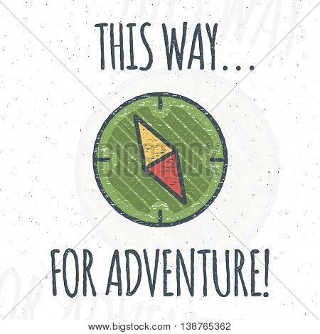 Camping logo design with typography and travel elements - compass. Vector text - this way for adventure. Hiking trail, backpacking symbols in retro flat colors. Nice for prints, tee design, apparel.