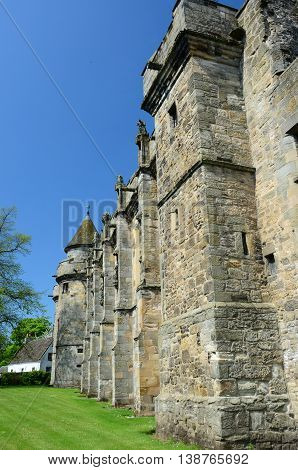 An external view of the perimeter wall at Falkland palace