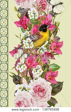 Vertical floral border. Pattern seamless. Flower garland of roses pink camellias cyclamen purple white inflorescences. Little yellow bird and white butterflies.