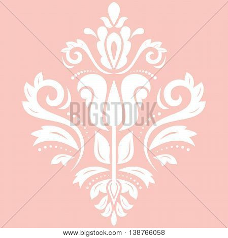 Oriental vector pattern with arabesques and floral elements. Traditional classic ornament. Pink and white pattern