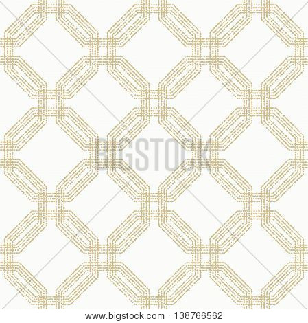 Geometric repeating vector ornament with octagonal dotted elements. Seamless abstract modern pattern. Golden and white pattern