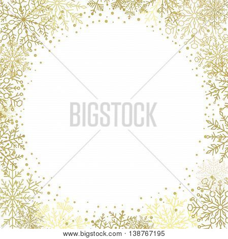 Winter vector frame with arabesques and snowflakes. Fine greeting card. Golden and white pattern
