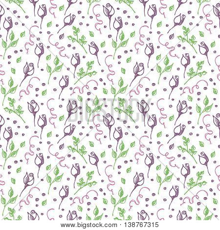 Seamless vector pattern, background with roses, branches and leaves on the white backdrop. Hand sketch drawing. Imitation of ink pencilling. Series of Hand Drawn Patterns.
