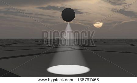 UFO flying and scanning deserted land 3D illustration background