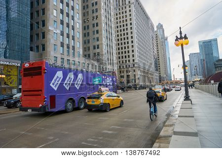 CHICAGO, IL - CIRCA MARCH, 2016: Chicago downtown in the daytime. Chicago is the third most populous city in the United States.
