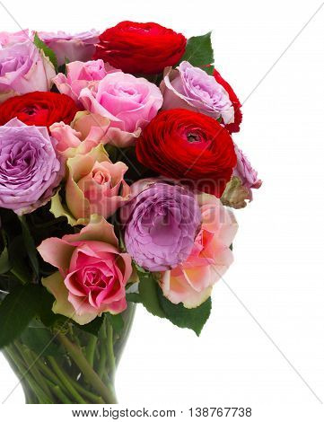bouquet of fresh roses and ranunculus flowers close up isolated on white background