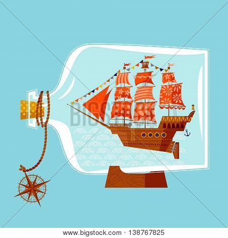 Ship in a bottle. Nautical Collection. Vector illustration