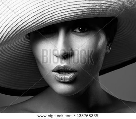 Beauty Woman In A Hat. Beautiful Spa Model Girl With Perfect Fresh Clean Skin. Youth And Skin Care C