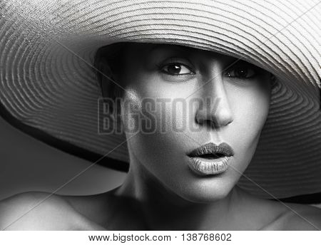 Beauty Woman Face Portrait. Beautiful Model Girl With Perfect Fresh Clean Skin. Female Looking At Ca