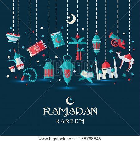 Ramadan Kareem icons set of Arabian vector set