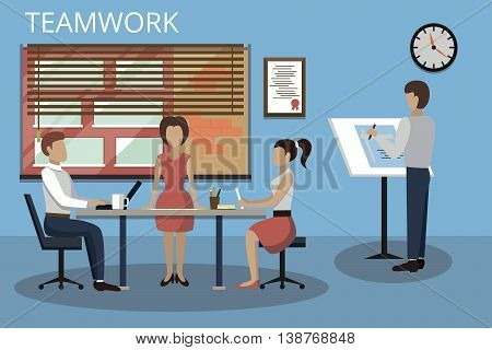 Modern flat design vector illustration concepts of teamwork process and success in business for graphic and web design