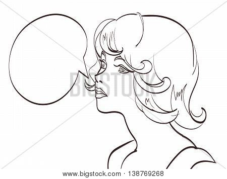 nice drawn POP ART WOMAN. Vector illustration. isolated eps 10.