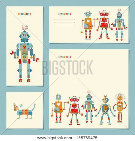 4 universal cards with multi-colored robots. Template. Birthday, anniversary, children's party, invitation, special event.