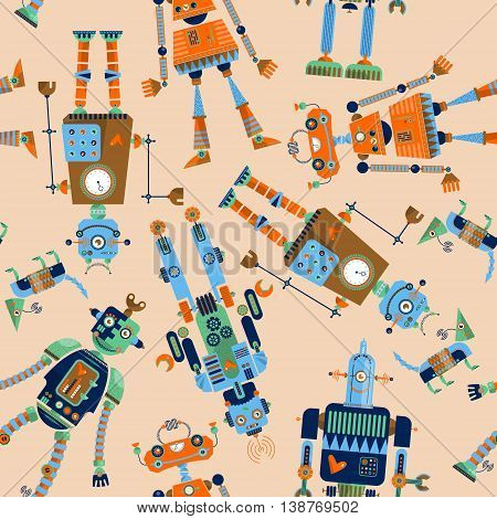 Robots of different shapes and multiple collors. Seamless background pattern. Vector illustration