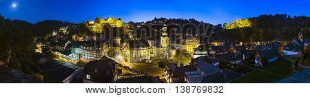 MONSCHAU - OCTOBER 3: Panoramic view of the beautiful Eifel village Monschau with night blue sky in Germany on October 3, 2014