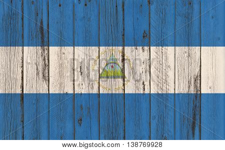 Flag of Nicaragua painted on wooden frame