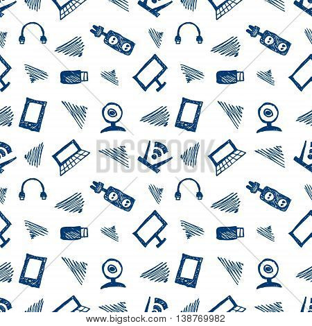 Seamless vector pattern, background monitor, notebook, router, usb and microphone on the white backdrop. Hand sketch drawing. Imitation of ink pencilling. Series of Hand Drawn and Technology Patterns.