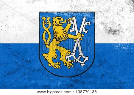 Flag Of Legnica With Coat Of Arms, Poland, With A Vintage And Ol