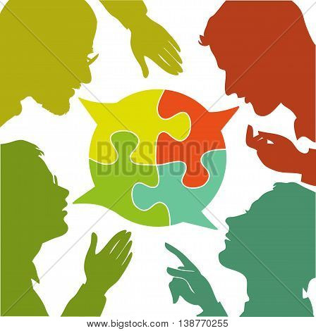 silhouettes of people leading dialogues with colorful speech bubbles. Speech bubbles in the form of puzzles. Dialogue and consensus.