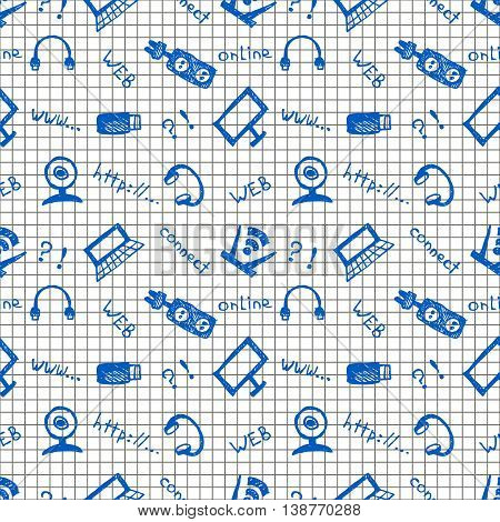 Seamless vector pattern, background monitor, notebook, router, usb and microphone on the checkered backdrop. Hand sketch drawing.  Series of Hand Drawn and Technology Patterns.