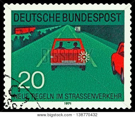STAVROPOL RUSSIA - JUNE 24 2016: a stamp printed by Germany shows Traffic on the roads circa 1971