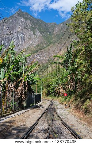 The Railroad Track Crossing Jungle And Urubamba River, Connecting Machu Picchu Village To Hydroelect