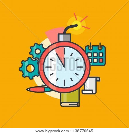 Minimalistic poster for business on a deadline. Vector illustration of office items.