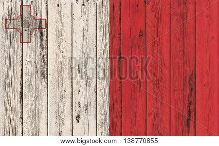 Flag of Malta painted on wooden fram