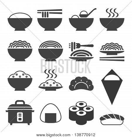 Vector Japanese cuisine icon, silhouette flat design