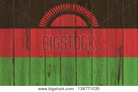 Flag of Malawi painted on wooden frame
