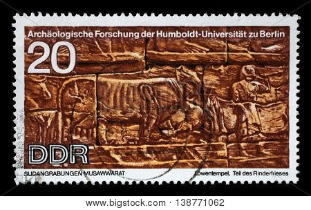 ZAGREB, CROATIA - JULY 03: A stamp printed in GDR shows Sudanese Archaeological Excavations by Humboldt University Expedition, circa 1970, on July 03, 2014, Zagreb, Croatia