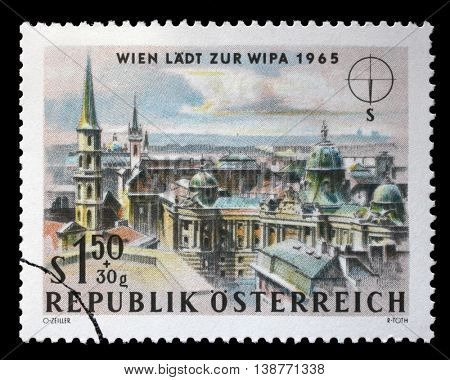 ZAGREB, CROATIA - JULY 03: A stamp printed in Austria shows St. Michael's Church (Michaelerkirche) and Hofburg Palace, Vienna, circa 1964, on July 03, 2014, Zagreb, Croatia