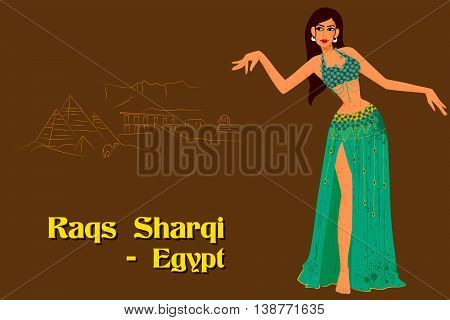 Vector design of Woman performing Raqs Sharqi dance of Egypt