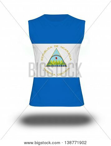 Athletic Sleeveless Shirt With Nicaragua Flag On White Background And Shadow