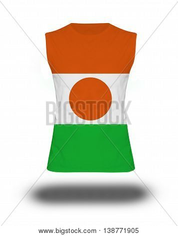 Athletic Sleeveless Shirt With Niger Flag On White Background And Shadow