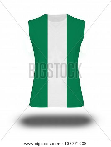 Athletic Sleeveless Shirt With Nigeria Flag On White Background And Shadow