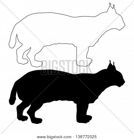 adult lynx a black silhouette vector illustration set
