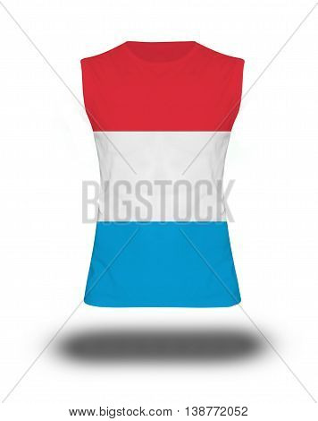 Athletic Sleeveless Shirt With Luxembourg Flag On White Background And Shadow