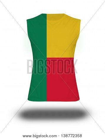 Athletic Sleeveless Shirt With Benin Flag On White Background And Shadow