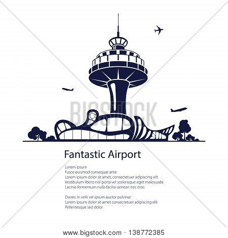 Airport Background, Travel and Tourism Concept ,Air Travel and Transportation, Poster Brochure Flyer Design ,Vector Illustration